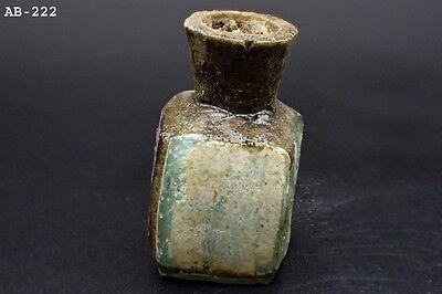 Wonderful Old Roman Glass Bottle 100 AD Repair #222