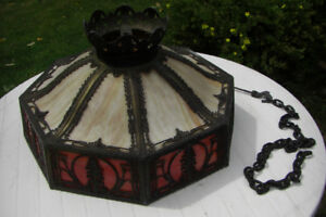 Stained glass tiffany style lamp shade approx 80-100 years old