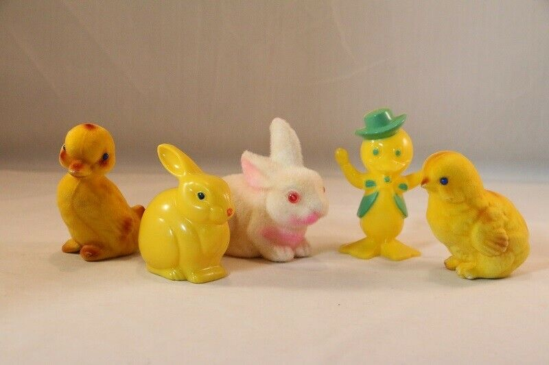 Vintage KNICKERBOCKER Easter BUNNY Rattle, Plastic DUCK, Flocked CHICK Duck 5 Pc