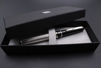 925 Silver Eclipse Fountain Pen Black Ink Cartridge Waterman Type Extra Fine Nib