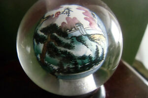 CRYSTAL BALL WITH GREAT WALL OF CHINA PAINTING WITHIN