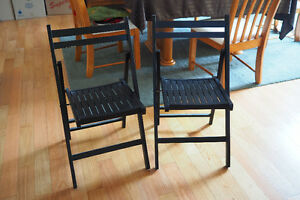 Two Black Wood/Wooden Folding Chairs