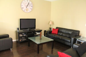 Living Room Items - Coffee Table,  Leather Coach, TV Stand