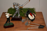Detailed Miniature Golf Bag and Cart plus two figurines