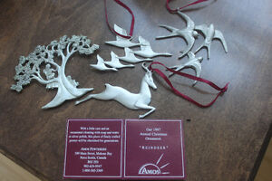 AMOS PEWTER Collector Xmas Ornaments from Mahone Bay, N.S.