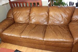 canape sofa 3 places en cuir brun a vendre