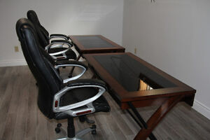 two cherry wood and glass desk Cambridge Kitchener Area image 3