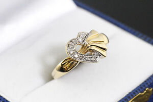 NEW STAMPED 10K. YELLOW GOLD. HEART SHAPE WITH DIAMOND RING sale