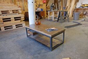 2 inch Slab and Steel Coffee table w/ Pull out Crate Shelf Kitchener / Waterloo Kitchener Area image 4