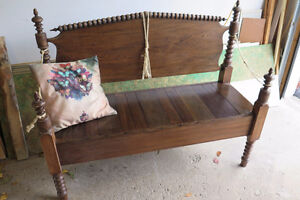 Rustic Unique antique solid wood bench-hand made!
