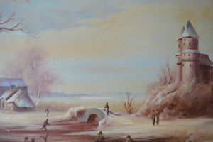 VINTAGE ORIGINAL OIL ON CANVAS LARGE PAINTING 42 X 31 inches Gatineau Ottawa / Gatineau Area image 7