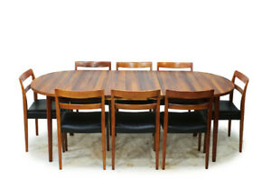 MCM Oval Rosewood Extendable Dinning Table
