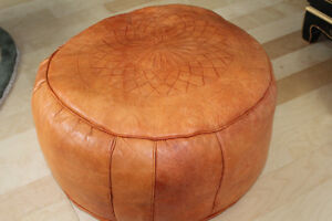 """Moroccan leather hassock (pouffe), 20"""" round 12""""  high"""