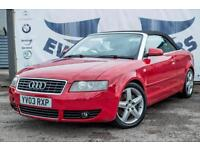 2003 AUDI A4 2.4 SPORT 2DR CONVERTIBLE NEW MOT PARKING SENSORS! FOG LIGHTS! CONV