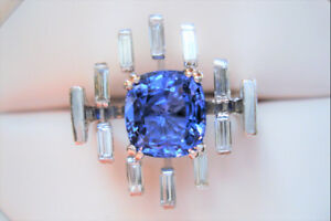18k White Gold 3.34 Carat CEYLON SAPPHIRE & 1.00 ct Diamond Ring
