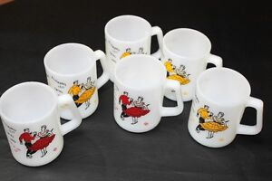 Federal Milk Glass mugs Square Dancing 4 yellow 2 red vintage Kingston Kingston Area image 8