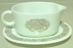 Pyrex Milk Glass Corning Gravy Boat & Saucer