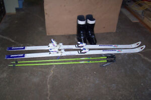 Downhill Skis, Bindings, Boots and Poles