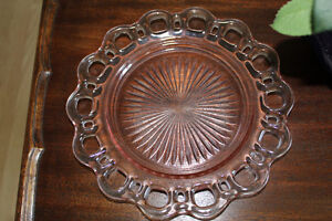 Antique Pink Depression Glass Serving Plate