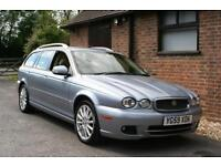 2009/59 JAGUAR X TYPE DIESEL ESTATE CAR IN GLACIER BLUE WITH 72000 MILES