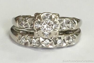 Diamond Estate Jewelry Set - Estate Jewelry 0.40 Ctw Diamond Ring Wedding Set 14K White Gold Size 8.5