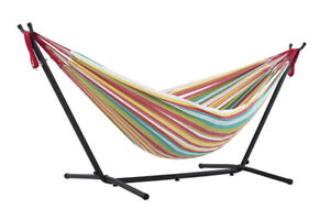 Vivere Double Salsa Hammock Combo with 9' Stand and Carry Bag