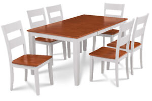 3TFurniture Lucan 7-piece dining set in Cherry & White - CAD$999
