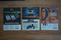 3  vintage 1980's advertisements - laminated & well preserved!