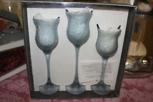 SMITH handmade American Glass Candle Holders (new)