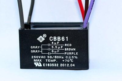 CEILING FAN CAPACITOR CBB61 4uf+5.5uf+6uf  5 WIRES