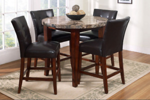 Pub Height Marble & Solid Wood TABLE ONLY