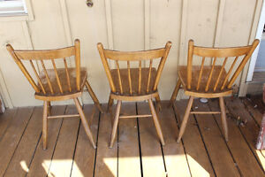 Set of 3 Old Farmhouse Plank Seat Chairs London Ontario image 2