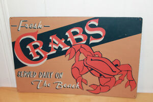 Tin crab sign