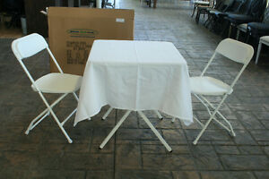 DINNER EN BLANC KIT / Sq Table + Tablecloth + 2 Chairs Kit *NEW*