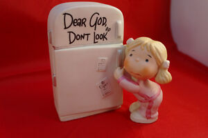 "1983 ""Dear God Kids"" girl reading figurine and various"