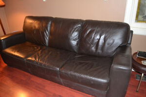 Modern Contemporary Bonded Leather Couch