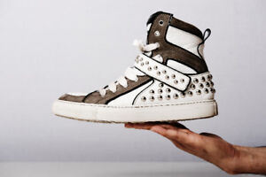 Dsquared | Studded Leather White Gray High-Top Sneakers