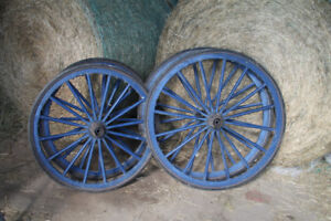 Antique wooden buggy wheels