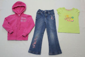 Girls George tee, jeans and sweater 3pc set, size 5