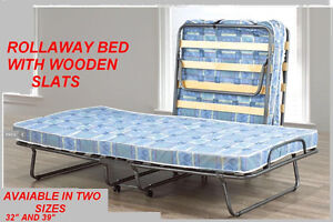 BRAND NEW ROLLAWAY BED WITH WOODEN SLATS MATTRESS INCLUDED... W