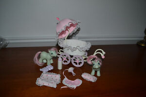 vintage lot 2 pouliches et buggy my little pony