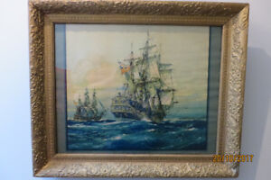 1924 print of Capt Cooks HMS RESOLUTION by J.Spurling