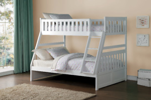 White Lisa single double solid wood bunk bed, in stock
