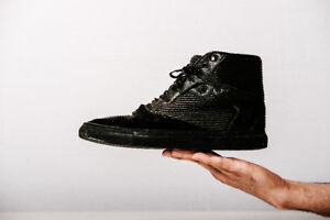 Balenciaga Paris | Pleated Leather Suede High Top Black Sneakers