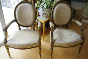 2 Large Antique Louis XVI Gold-leafed Fauteuils Chairs 40x27x20""