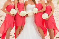2 Coarl Chiffon Bridesmaid dresses