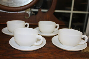 4 Vintage Milk Glass Cups & Saucers