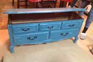 Teal Rustic Wooden Cabriole leg Chest
