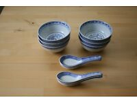 Chinese / Oriental Bowls & Spoons - Set of 6