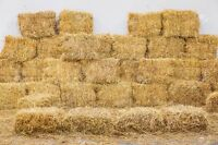 Small square bales of straw for sale.